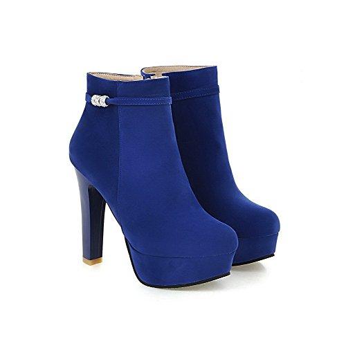 AllhqFashion Damen Niedrig-Spitze Eingelegt Reißverschluss Hoher Absatz Stiefel Blau