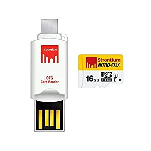 Strontium Nitro 16GB Class 10 MicroSDHC Memory Card with OTG Card Reader