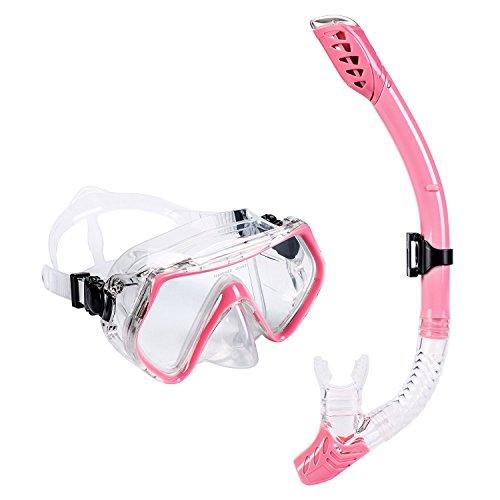 Schnorchelset Erwachsene - UPhitnis Anti-Fog Snorkeling Mask, Anti-Leck Tauchermaske Dry Schnorchel - Snorkeling Set für Mann, Damen, Kinder - Tauchen & Schnorcheln mit Blau, Schwarz, Gelb, Rose