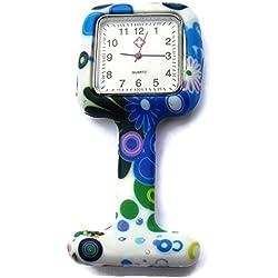 QBD Nurses Fashion Coloured Patterned Silicon Rubber Fob Watches - SQUARE White Daisy
