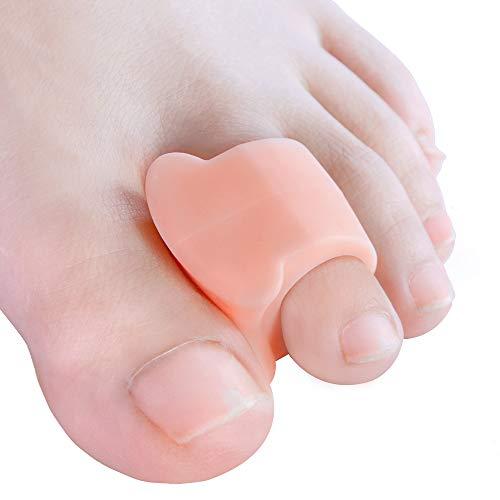 Welnove Zehenspreizer, 10x Gel Zehenstrecker für Hallux Valgus Korrektur, überlappende Zehen (Beige Silikon Zehentrenner) -