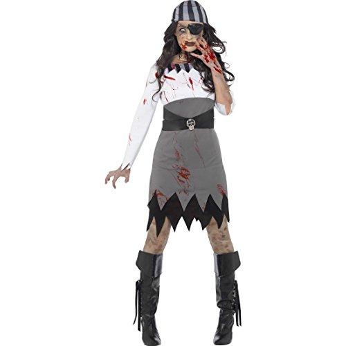Amakando Geisterpirat Kostüm Damen - L (42/44) - Piratenbraut Zombiekostüm Karnevalskostüm Seeräuberin Geisterkostüm Freibeuterin Walking Dead Kostüm Untote Halloweenkostüm Zombie - Untoten Kostüm