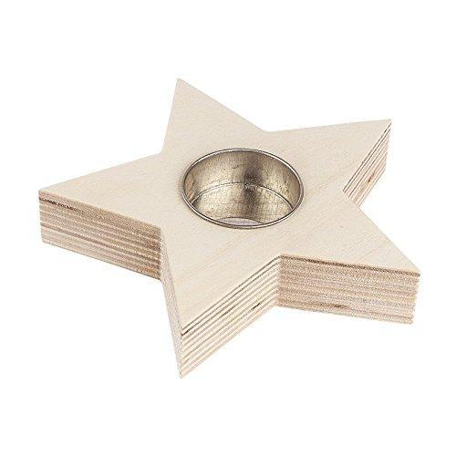 Teelichthalter aus Holz, Stern, 13cm x 13cm x 2,4cm | Kerzenhalter, Kerzenständer, Kerze, Winter, Advent Weihnachten | Dekoration aus Holz