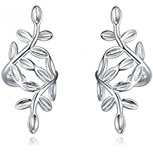 Daesar Jewelry 1 Par / 2 PCS Silver Leaf Clip de oreja Clip de oreja Pendientes 925 Silver Fake Piercing Ear Cuff Ear Braces Falso Piercing de agujero falso Piercing para Ladies Women Girl