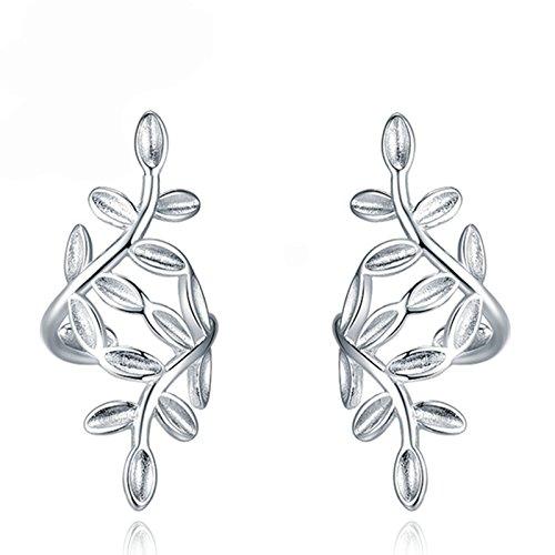 Daesar Jewelry 1 Par/2 PCS Silver Leaf Clip de oreja Clip de oreja Pendientes 925 Silver Fake Piercing Ear Cuff Ear Braces Falso Piercing de agujero falso Piercing para Ladies Women Girl