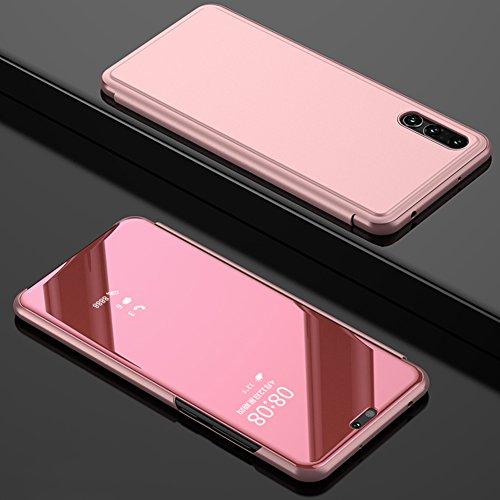 Huawei P20 Lite Hülle TOCASO LED View Spiegel Schutzhülle Huawei P20 Lite Wallet Clear View Flip Huawei P20 Lite Handyhülle Klapptasche in Lederoptik mit Standfunktion und Magnetverschluß -Roségold