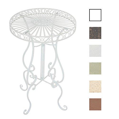 CLP Eisentisch Shiva Design I Robuster Stehtisch mit kunstvollen Verzierungen I erhältlich Weiß - Weiße Outdoor-beistelltisch