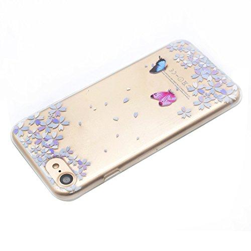 Etui iPhone 6, iPhone 6S Housse, Coque pour iPhone 6 HuaForCity® Peint Transparent Doux TPU Silicone étui Coque Case Cover pour iPhone 6/6S-Dreamcatcher Papillon de fleur