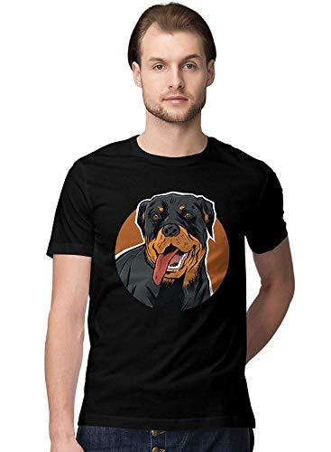 Happy Rottweiler Dog IllustrationMen's Novelty T-Shirt,T-Shirts & Hemden(XXX-Large) -