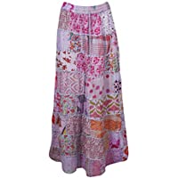 Women Long Skirt Pink Printed Patchwork Vintage Gypsy Flared Maxi Skirts