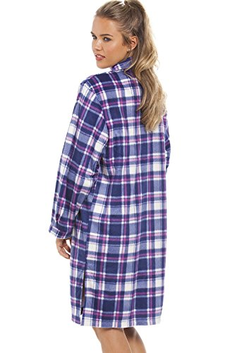 Camille - Nachthemd aus Fleece mit Knopfleiste vorn - Karomuster in Blau & Violett Violett