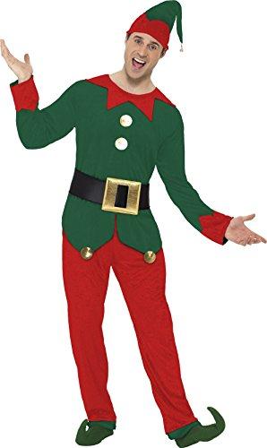 Kostüme Herren Kobold (Kostüm Kobold Rot und Grün mit Oberteil Hose Hut und Gürtel,)