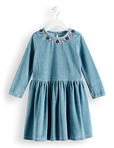 RED WAGON Mädchen Velvet EMB Dress Kleid, Blau (Eggshell Blue), 122 (Herstellergröße: 7) (Velvet Kleid)