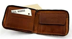 LE PORTEFEUILLE en cuir couleur naturel avec support de carte de visite et fermeture éclaire sécurisé PAUL MARIUS