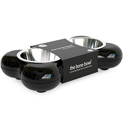 Hundenapf aus Edelstahl in Knochenform - mit zwei herausnehmbaren Schüsseln, schwarz