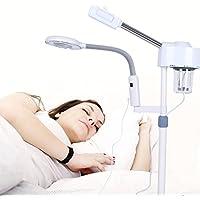 Vaporizador facial, máscara de vapor de pie profesional con luz LED y aumento de 3 veces para uso de salón spa belleza
