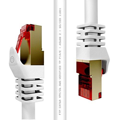Duronic CAT6a 10m (Weiß) Ethernet FTP LAN Netzwerkkabel - Doppel geschirmt - 500 MHZ Patchkabel für Switch / Router / Modem / Patch
