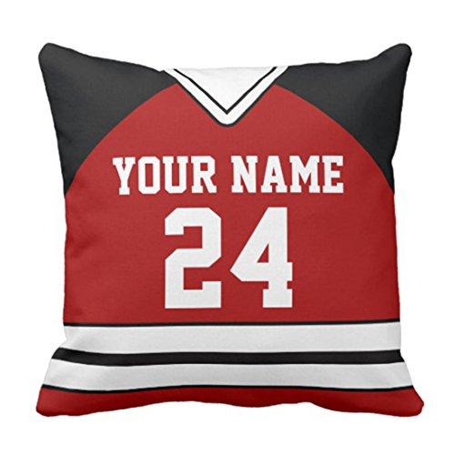 emvency manta funda de almohada deportes de Hockey Jersey con nombre personalizado número funda de almohada decorativa Decoración del hogar Cojín cuadrado Funda de almohada