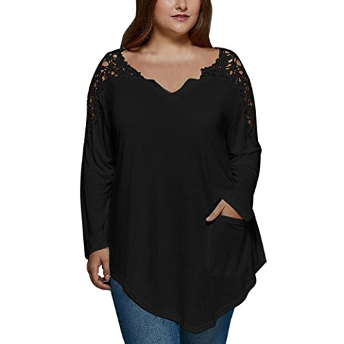blusas de mujer tallas grandes de moda 2017 manga larga Switchali ropa de mujer en oferta casual camisetas mujer verano baratas Encaje blusas de mujer elegantes de fiesta (5X-Large, Negro)