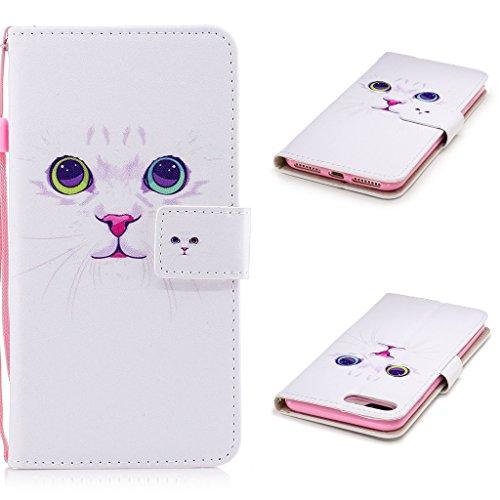 iPhone 7 Plus Coque, Fodlon® Mode Peint Carte Machines à Sous avec Cordon Téléphone Case -Licorne chat blanc