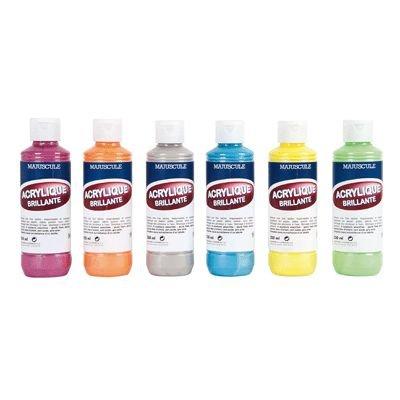 majuscule-peinture-acrylique-couleur-metallisees-tendance-carton-de-6-flacons-de-250-ml