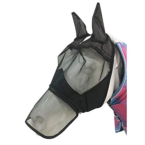 BETTERLE Fliegenmaske mit Ohren Nasenschutz Mesh Full Face Pferde Fly Mask (Pony(S))