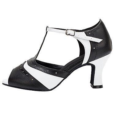 Donna Banchetto Latino Stanza Ballo Scarpe Nero bianco