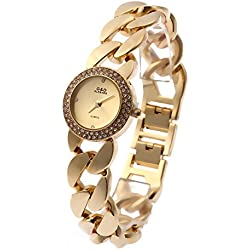 Sheli Ladies Fashion 18k Gold-Plated Crystal Acented Quartz Stainless Steel Bangle Wrist Watch,25mm