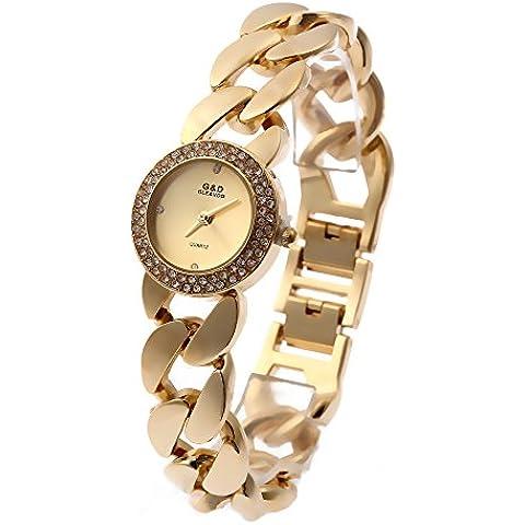 Sheli Donna Fashion 18K Placcato Oro Cristallo acented quarzo orologio da polso bracciale rigido in acciaio inox, 25mm