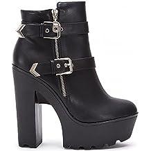 Moda Negro Pu Imitación Cuero De Señoras Mujeres Hebillas Chelsea Bloque Grueso Plataformas, Botines, Zapatos De Tacón Altos Zapatos 3-8