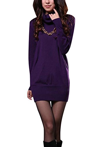 Molly Femmes Manche Longue Col Roulé Pulls Chandail Robes Violet Col Haut