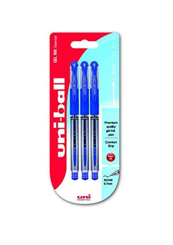 uni-ball 153486456 UM-151S Signo Gelschreiber mit Gelgriff, Gel Super-Tinte, fälschungssicher, 0.7 mmdelstahlspitze, 3 Stück blau