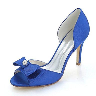 Wuyulunbi@ Scarpe donna raso Primavera Estate della pompa base scarpe matrimonio Stiletto Heel Peep toe Bowknot imitazione perla per il ricevimento di nozze e la sera. Blue