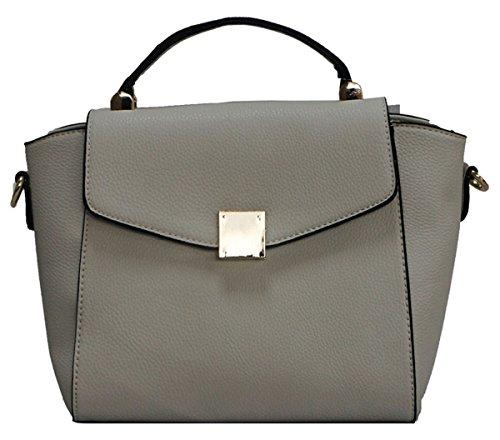 Kukubird Sadira In Ecopelle Con Chiusura Anteriore Dettaglio Design Top-manico Spalla Tote Handbag Grey