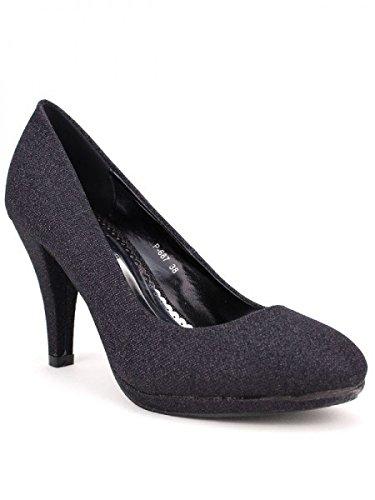 Cendriyon, Escarpin color noir paillettes LIANO Chaussures Femme Noir