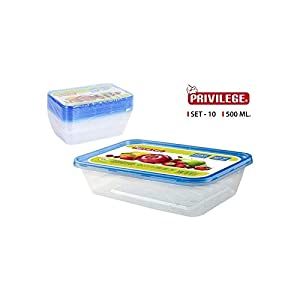 Privilege- Set 10 Semidesechables Rectangular, 500 ml, Multicolor (49786)