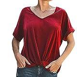 JUSTSELL ▾Damen T-Shirt - Damen Grünes T-Shirt Schwarzes T-Shirt Ostern Bluse V-Ausschnitt Kurze Ärmel Einfarbiges T-Shirt Kurze Hülse Lässiges, Loses Oberteil