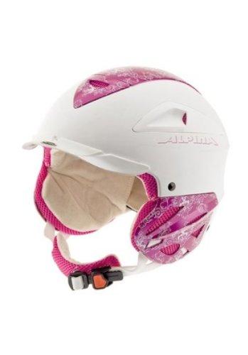 Mädchen Skihelm ALPINA super Ausstattung RUN System weiß pink