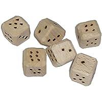 6 rustikale handbeschnitzte Spielwürfel, gebrannte Augen, verschiedene Größen wählbar