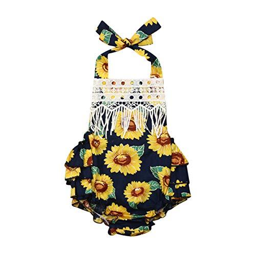 Kostüm Sonnenblumen Neugeborenen - CIPOGL Babykleidung, Neugeborenen Baby Mädchen Halfter Ärmellos Sonnenblume Ruffle Romper Strampler Body Overall Baby Sommerkleidung Outfit (70, Schwarz)