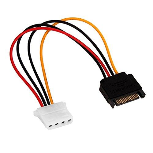 Wokee 20cm SATA Strom-Adapter Adapter Serial ATA SATA 15 p auf Festplatte 4 p IDE Netzteil Kabelstecker Wird für die SATA-Übertragung Verwendet 13g InternesSATA Strom-Kabel SATA-Stromkabel