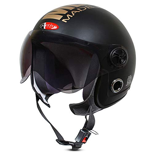 ACTIVE JET MLG 1901 Open Face Helmet (Black MATT) (BLACK)