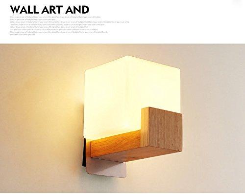 H&D HD Moderne Nachttisch-Wandleuchte Einfache Kreative Massivholz LED Energiesparende Schlafzimmer Wohnzimmer G?nge Korridor Hotel...