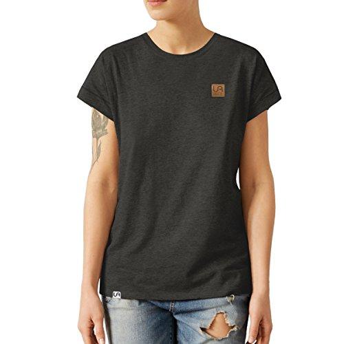 urban air StyleFit | T-Shirt | Damen | Sport, Freizeit | 100% Baumwolle, Leder-Patch, Rundhals-Ausschnitt, Kurzarm | Dunkel Grau | S | Loose Fit, Leicht Tailliert (Dunkle Armee Grünen T-shirt)
