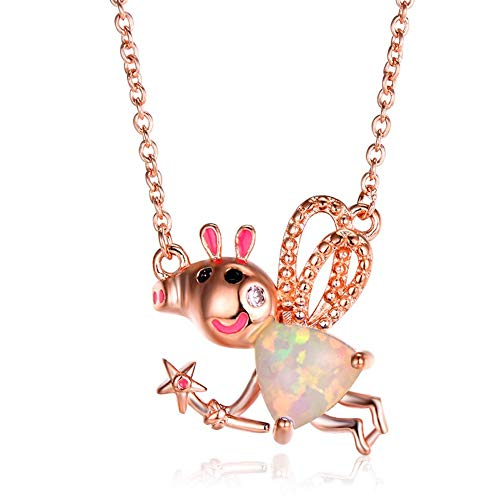 Niedliche Pig Pendant Halskette-Fire Opal Pendant Rose/White Gold Plated-Charm 925 Sterling Silver Hypoallergene Adjustic Clavicle Chain-Girls Women Exotic Schmuck Gift Box,B - Kit-gold Plated