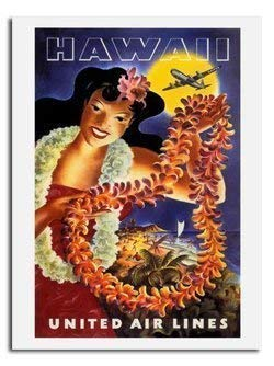 Hawaii United Airlines Reise Poster - Größe 40 X 30 cm (15.5 X 11.5 Inches) - United Poster Airlines