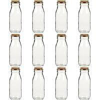 12 botellas de 280 ml de cristal transparente Juvale con tapones de corcho para leche.