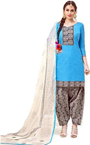 EthnicJunction Unstitched Cotton Salwar Kameez Dupatta Dress Material (EJ1180-88007 , Maya Blue...