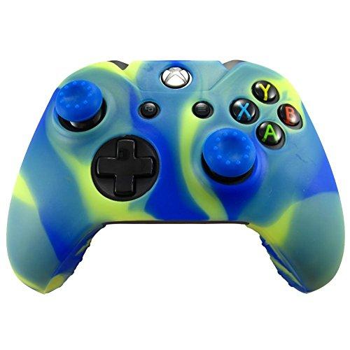 Silikonhülle Haut Chützende Gummi für XBOX ONE Controller + Daumengriff Stick-Kappe x 2 (Blau-Gelb)