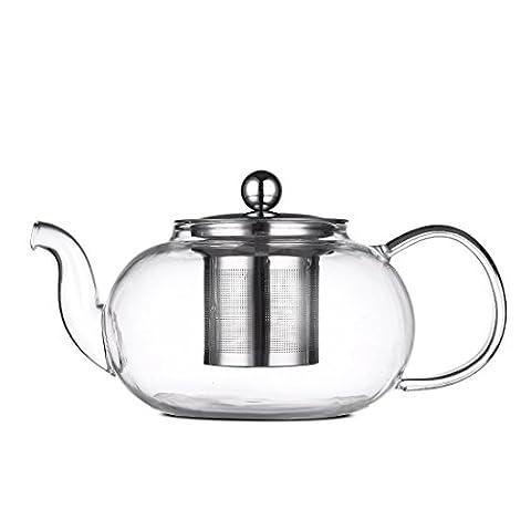 Qileyin Théière de 800ml clair, Théière en verre résistant à la chaleur bouilloire à thé avec infuseur pour feuilles de thé Infuseur à thé en vrac en acier inoxydable, Gybl208
